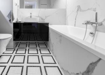 Modern bathroom with cultured marble surfaces