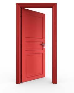 Red door hanging in frame.