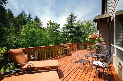 sunny, open outdoor deck