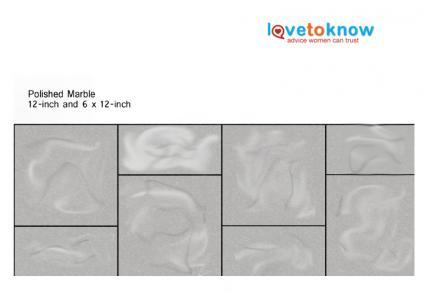 Polished marble backsplash pattern