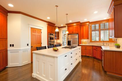 Kitchen island contrasting cabinets