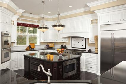 Modern kitchen with black counters