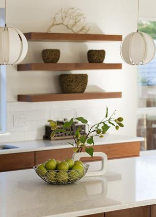 Kitchen with white laminate countertop