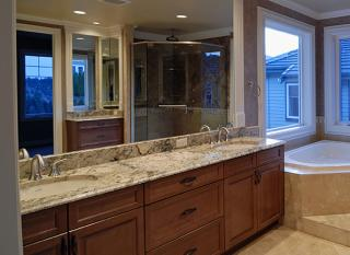 Bathroom with a granite countertop