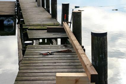 wood repair on a dock