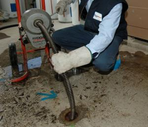 clearing a floor drain