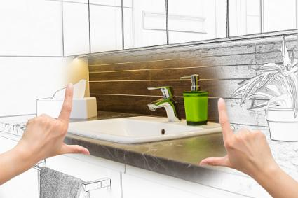 Hands framing custom bathroom design