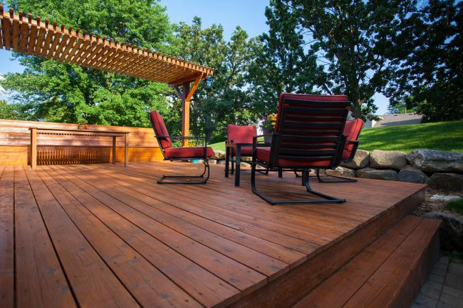 backyard wood deck design with arbor
