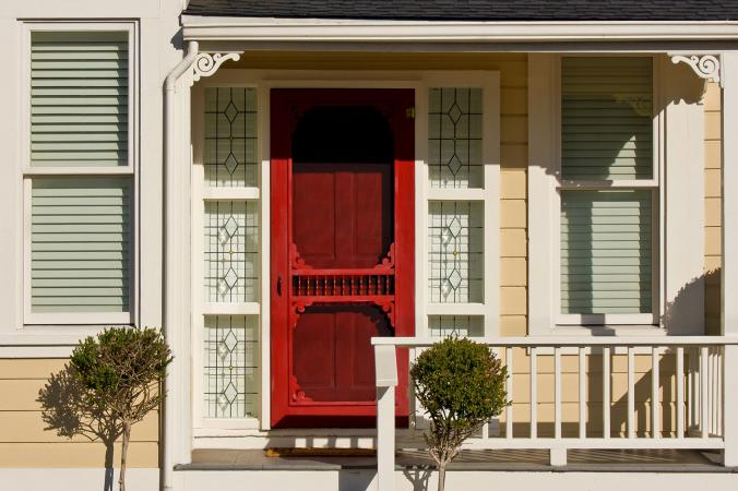 Red Decorative Storm Door