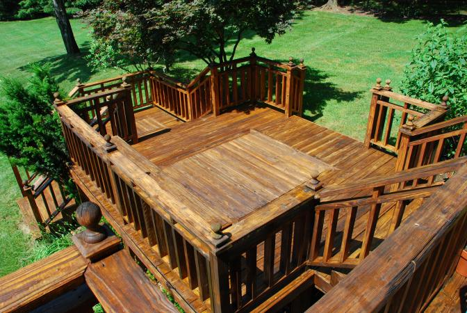 Newly stained deck