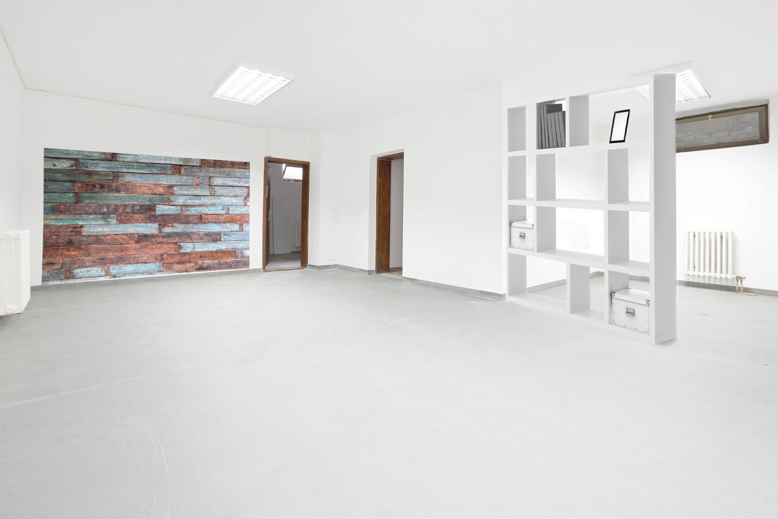 Basement with wood wall and shelving