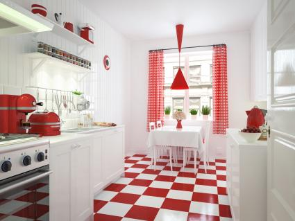 Red and white domestic kitchen interior