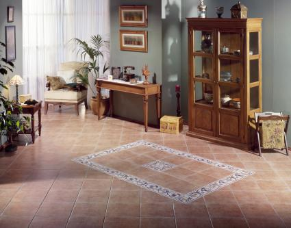 Countryside room with ceramic tiles on the floor