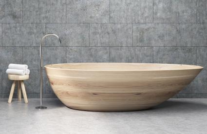 Wooden tub in modern bathtub