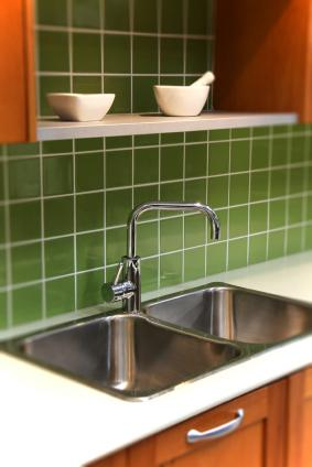 Green kitchen backsplash tiles