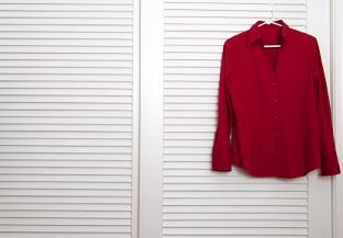red shirt white closet door