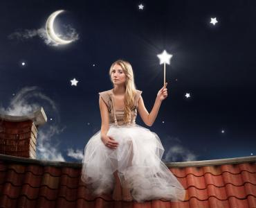fairy under starry night sky