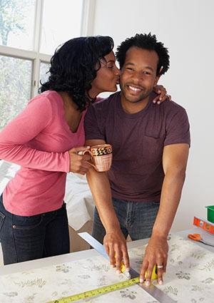 Virgo woman kissing man