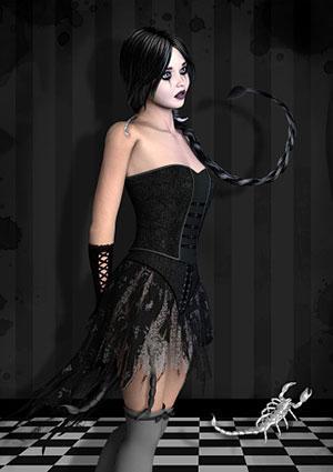 Scorpian woman in black