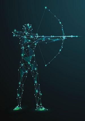 Sagittarian with bow and arrow