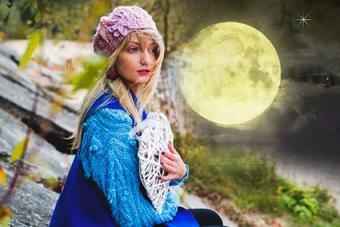Woman and full mooon