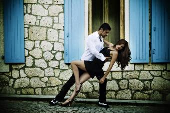 Couple performing passionate tango