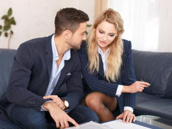 flirty business couple