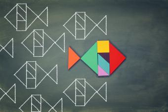 Fish made from tangram puzzle shape