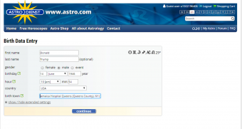 Screen shot of Data entry from astro.com