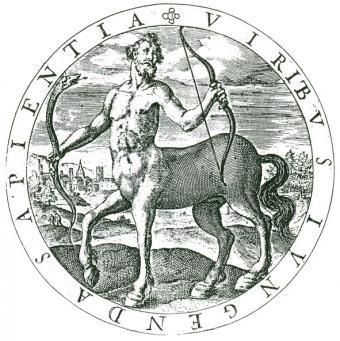 Greek mythological centaur Chiron holding snake and bow