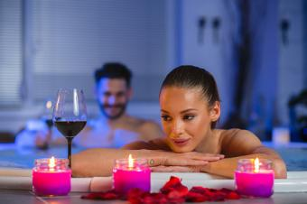 Man and woman in Jacuzzi