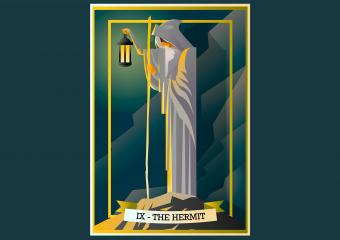 Hermit tarot card on grey background
