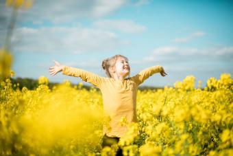 Carefree girl in field