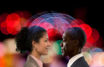 Man and woman use the law of attraction in love