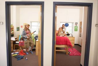 Young women in dorm rooms