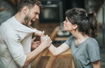 Aggressive couple arguing