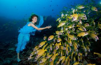 Woman under water
