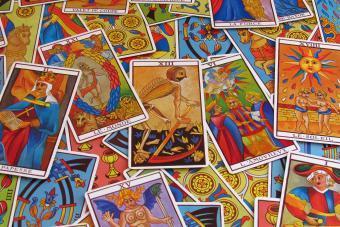 Colorful tarot cards