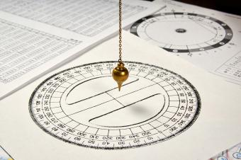Astrological pendulum for tarot and astrological circle on the background of astrological sheets