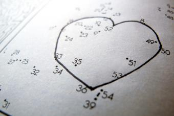 Connecting the dots leisure game with heart shape
