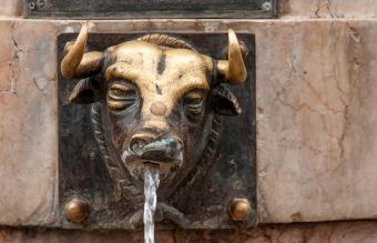 Bronze Bull Water Fountain