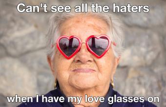 Sunglasses with heart shape