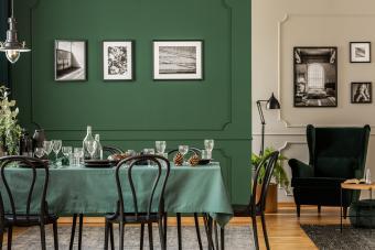 green, white and black decor