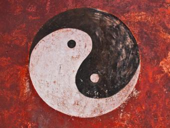 Yin Yang symbol painted on temple wall, China