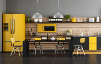 Interior Of Yellow Accented Kitchen