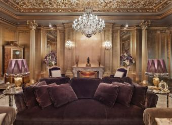 Luxury living room with purple couch