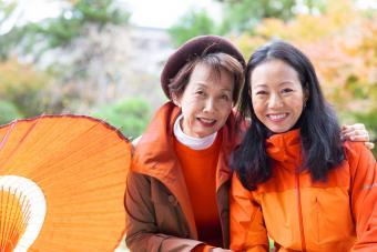 Mother and daughter enjoying autumn