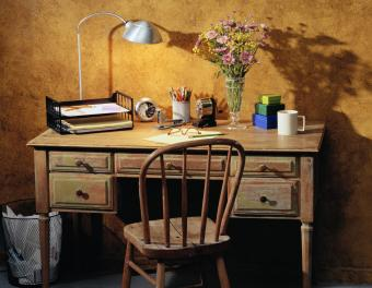 Home office in muted mustard colors