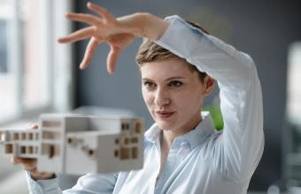 holding architectural model