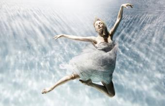 young woman floating gracefully